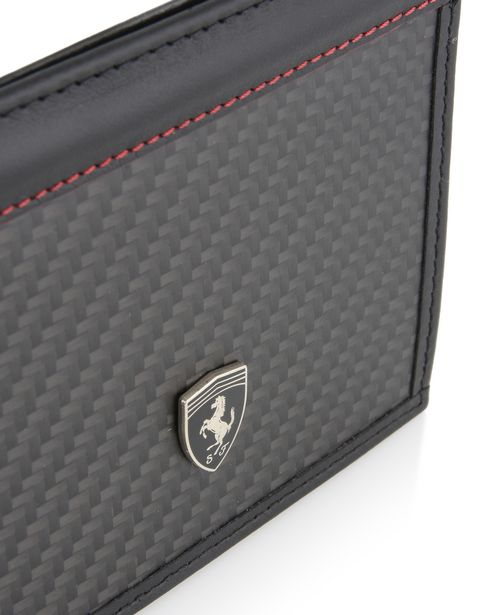 Scuderia Ferrari Online Store - Leather and carbon fiber card holder - Credit Card Holders