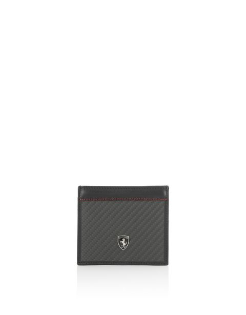 Leather and carbon fibre card holder