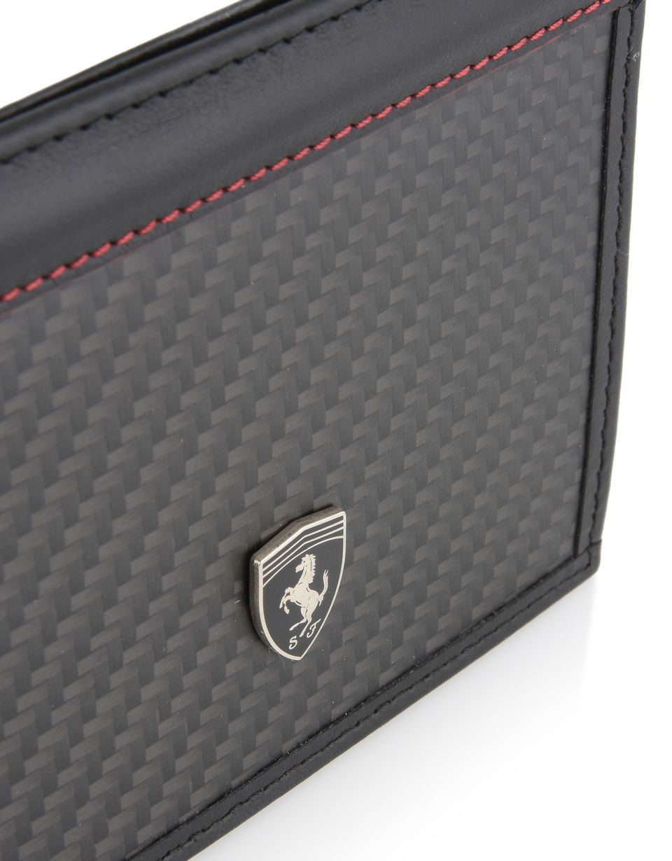 Scuderia Ferrari Online Store - Leather and carbon fibre card holder - Credit Card Holders