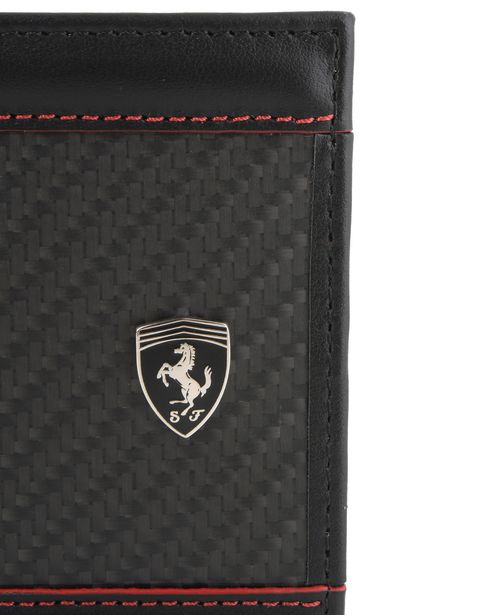 Scuderia Ferrari Online Store - Leather and carbon fibre bifold wallet - Horizontal Wallets