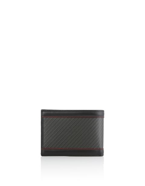 Horizontal leather and carbon fiber wallet