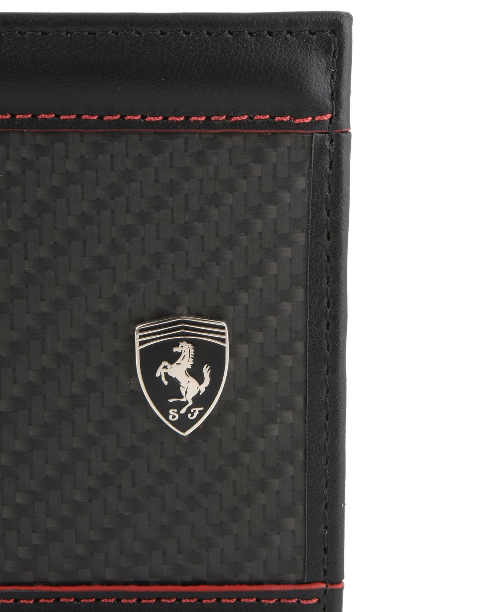Scuderia Ferrari Online Store - Horizontal leather and carbon fiber wallet - Horizontal Wallets