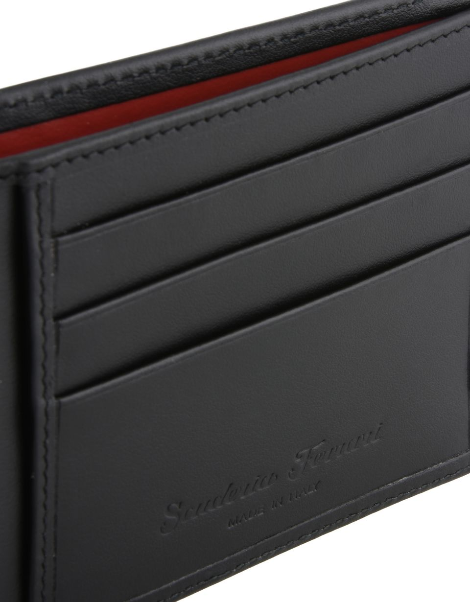 Scuderia Ferrari Online Store - Horizontal leather and carbon fiber wallet -
