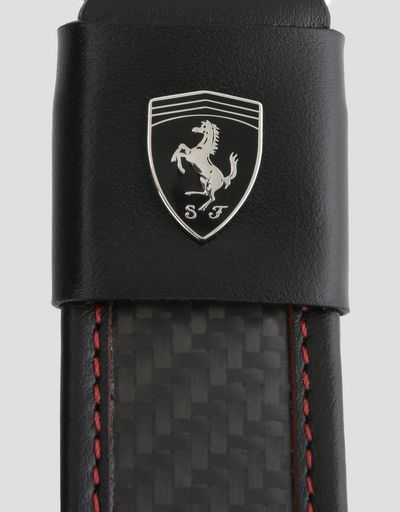Scuderia Ferrari Online Store - Leather and carbon fiber keyring - Keyholders