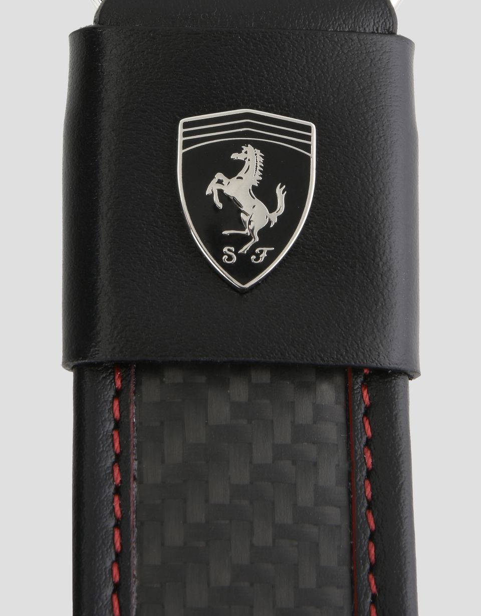 Scuderia Ferrari Online Store - Leather and carbon fibre keyring - Keyholders