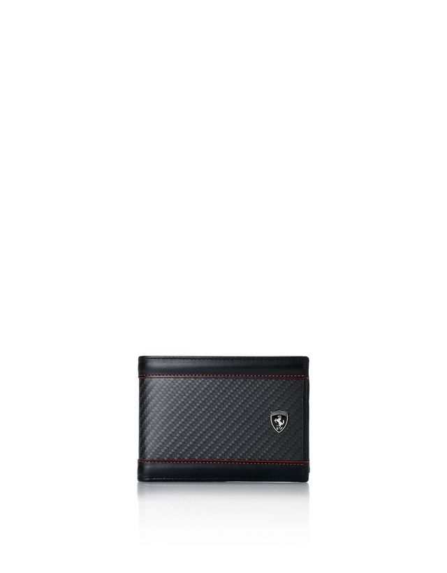 Scuderia Ferrari Online Store - Leather and carbon fiber wallet with card holder - Horizontal Wallets