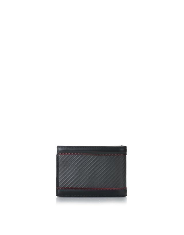 Scuderia Ferrari Online Store - Leather and carbon fibre wallet with card holder -