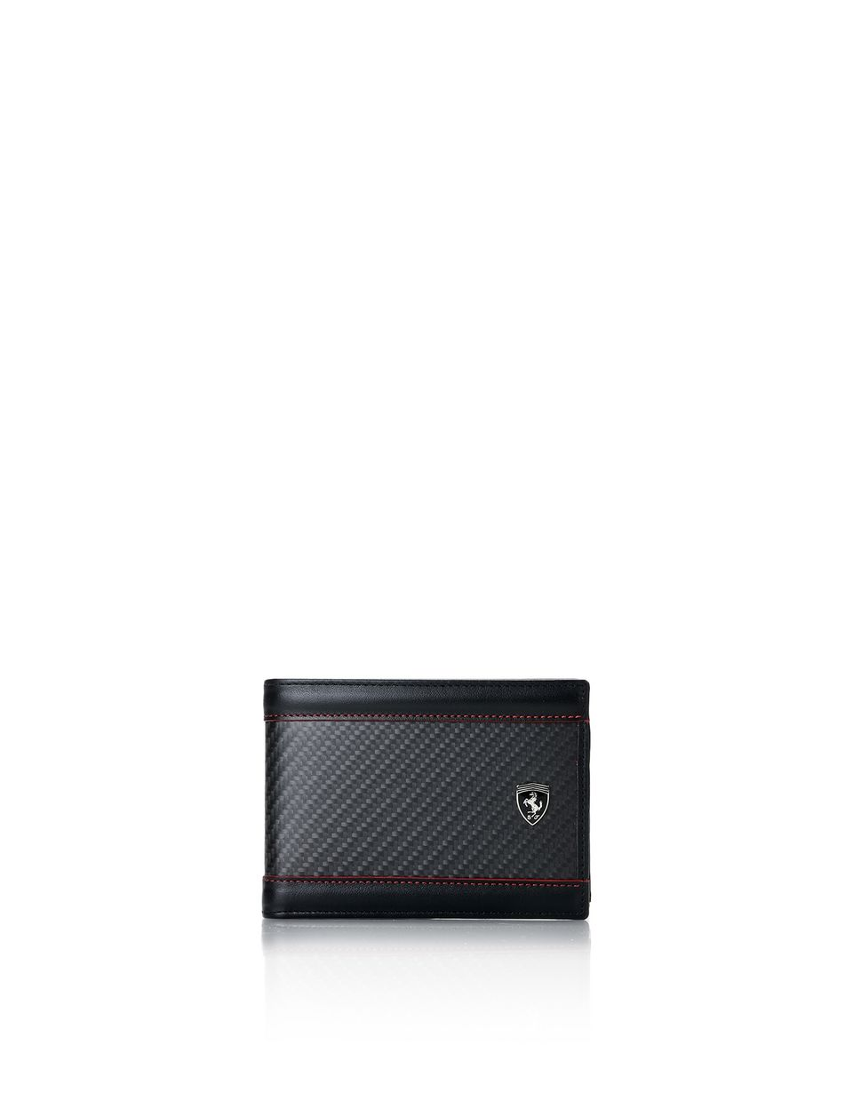 Scuderia Ferrari Online Store - Leather and carbon fibre wallet with card holder - Horizontal Wallets