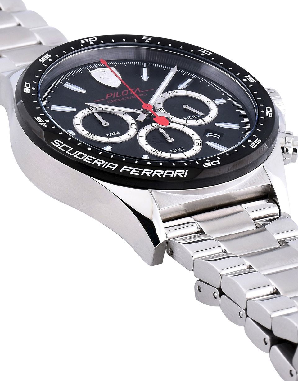 Scuderia Ferrari Online Store - Pilota chronograph steel watch with black dial - Chrono Watches