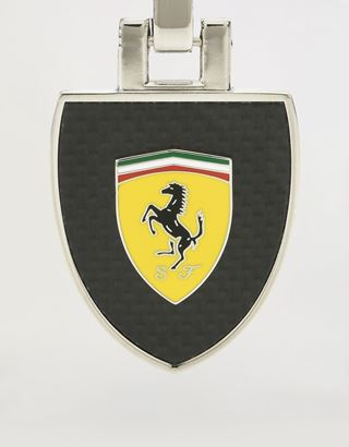 Scuderia Ferrari Online Store - Metal keyring with enamel Shield and carbon fiber laminate - Keyrings
