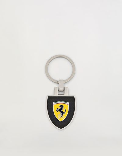 Metal keyring with enamel Shield and carbon fiber laminate