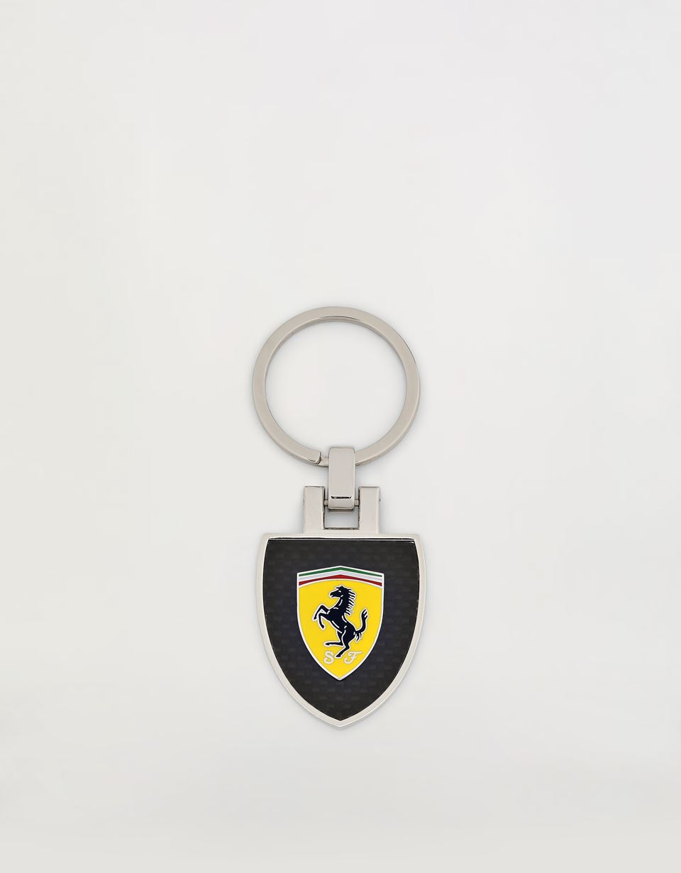 Scuderia Ferrari Online Store - Metal key ring with enamelled Shield and carbon fibre coating - Keyrings