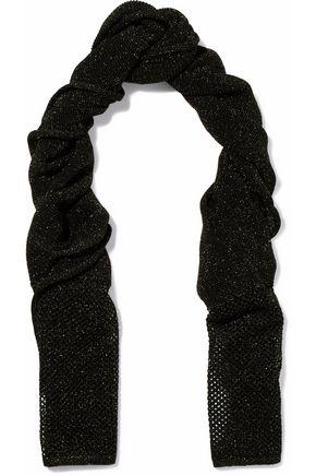 M MISSONI Metallic open and crochet-knit scarf