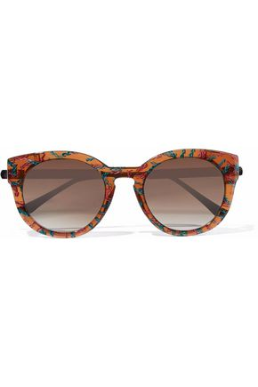 WOMAN ROUND-FRAME PRINTED ACETATE SUNGLASSES ORANGE
