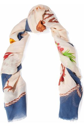 STELLA McCARTNEY Fringed printed modal and silk-blend scarf