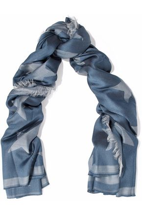 STELLA McCARTNEY Fringed printed silk and modal-blend scarf