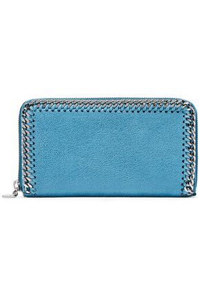 STELLA McCARTNEY Chain-trimmed faux brushed-leather continental wallet