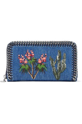 STELLA McCARTNEY Embroidered denim wallet