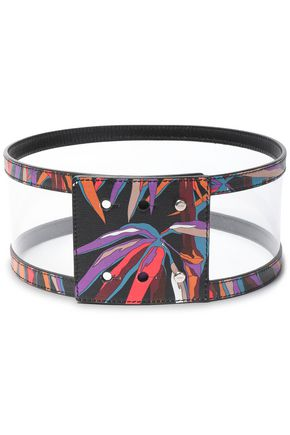 EMILIO PUCCI PVC-paneled printed leather belt