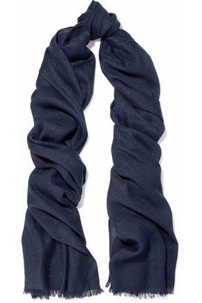 BRUNELLO CUCINELLI Frayed metallic cashmere-blend scarf