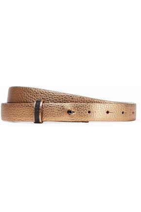 BRUNELLO CUCINELLI Bead-embellished metallic pebbled-leather belt