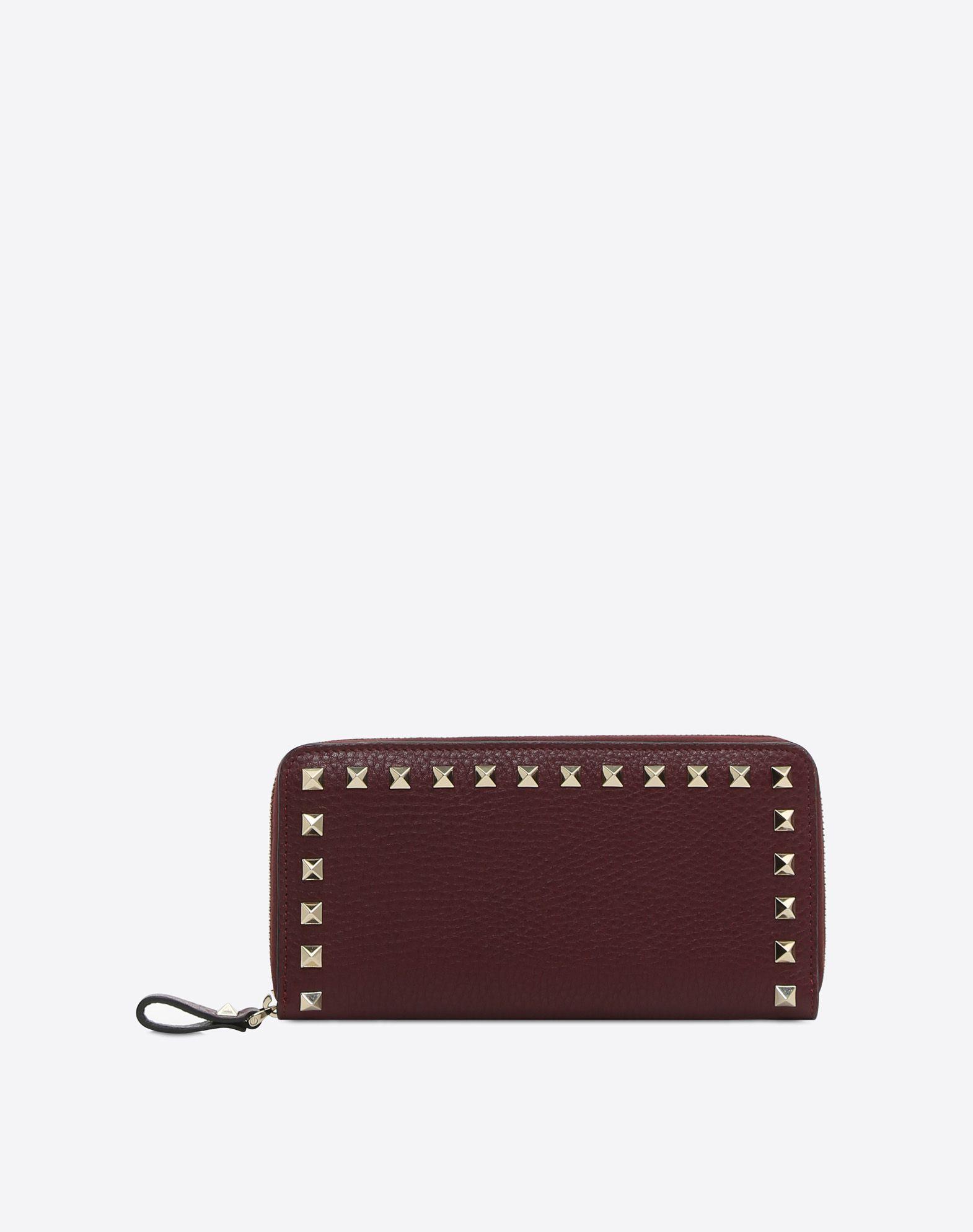 Rockstud Grainy Calfskin Zippered Wallet