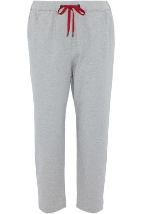 BRUNELLO CUCINELLI Cropped sequin-embellished stretch-cotton track pants