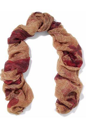 BRUNELLO CUCINELLI Fringe-trimmed printed linen scarf