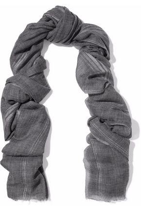 BRUNELLO CUCINELLI Metallic striped cashmere-blend gauze scarf