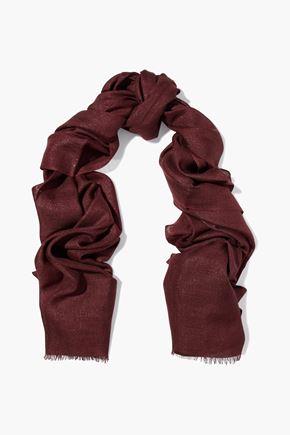 BRUNELLO CUCINELLI Fringed metallic cashmere-blend scarf