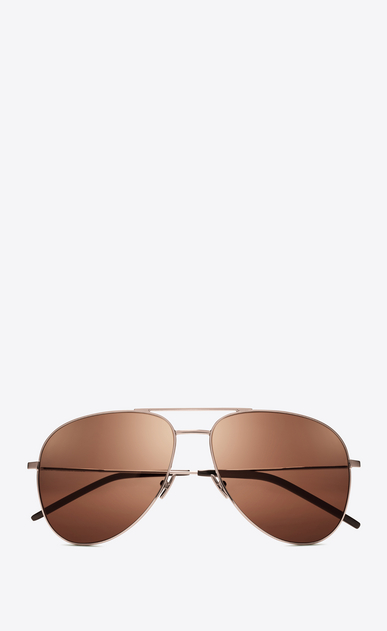 SAINT LAURENT CLASSIC E classic 11 sunglasses in champagne-colored metal and champagne-colored lenses a_V4