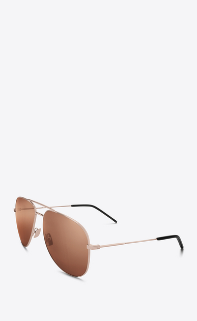 SAINT LAURENT CLASSIC E classic 11 sunglasses in champagne-colored metal and champagne-colored lenses b_V4