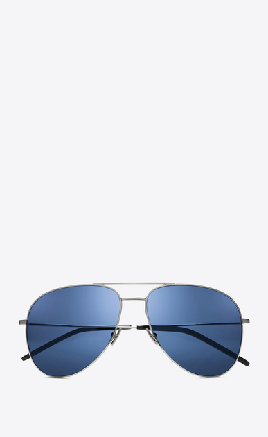 SAINT LAURENT CLASSIC E 11 sunglasses in silver-colored metal and blue lenses a_V4