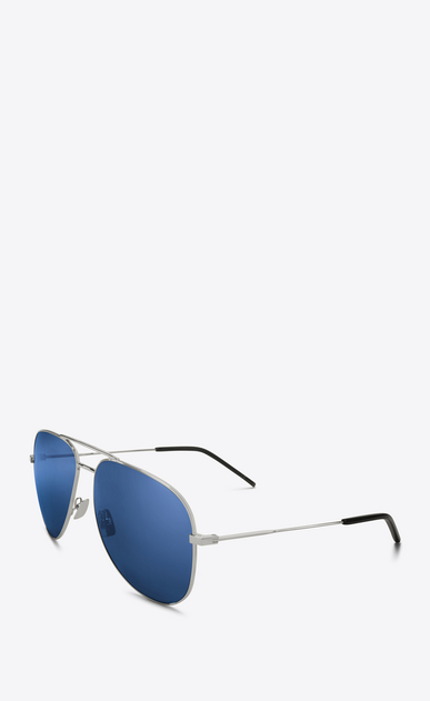 SAINT LAURENT CLASSIC E classic 11 sunglasses in silver-colored metal and blue lenses b_V4