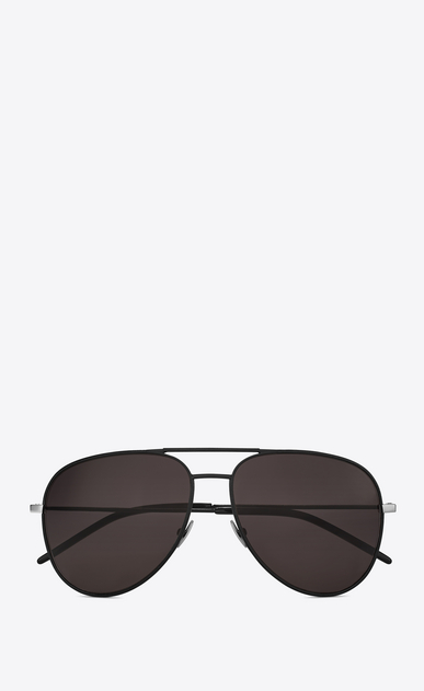 SAINT LAURENT CLASSIC E classic 11 sunglasses in black metal and leather and smoked lenses a_V4