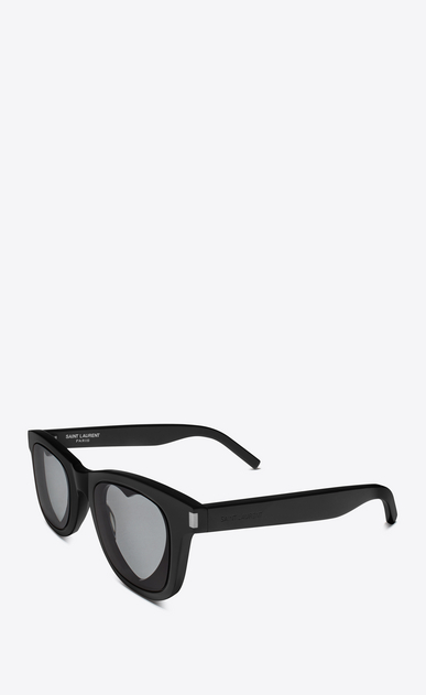 SAINT LAURENT CLASSIC Woman classic 51 heart sunglasses in black acetate and gray lenses b_V4