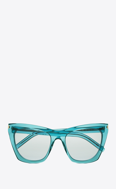 SAINT LAURENT NEW WAVE Woman NEW WAVE 214 KATE sunglasses in acetate and clear turquoise lenses a_V4