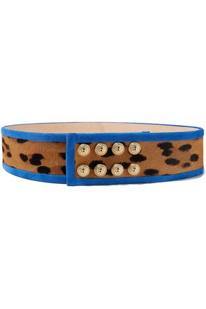 BALMAIN Button-embellished suede-trimmed leopard-print calf-hair belt