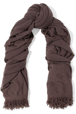 RICK OWENS Fringed cashmere scarf