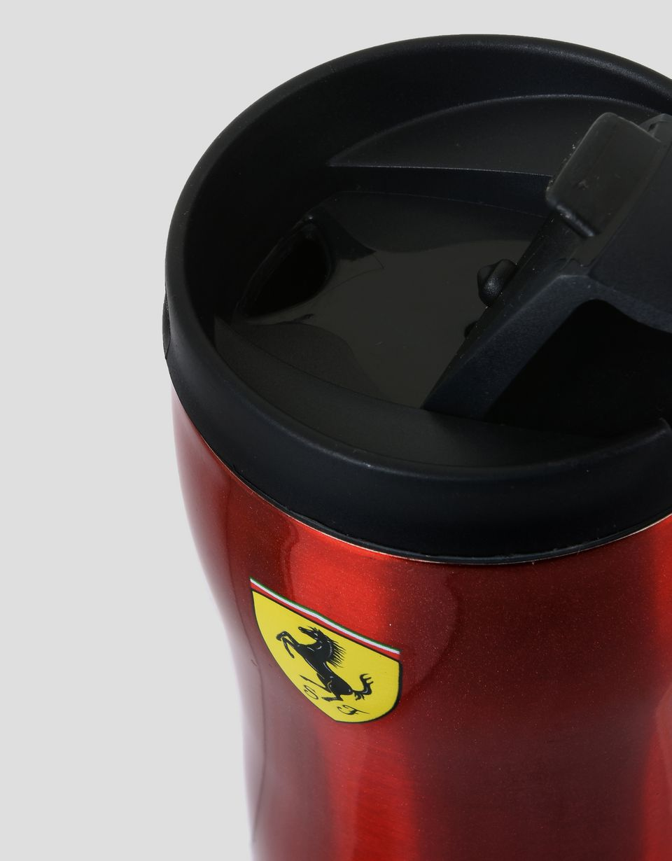 Scuderia Ferrari Online Store - 11.8 oz insulated travel mug in double-wall steel with Ferrari Shield - Mugs & Cups