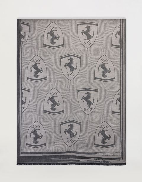 Rectangular Scarf with Ferrari Shield