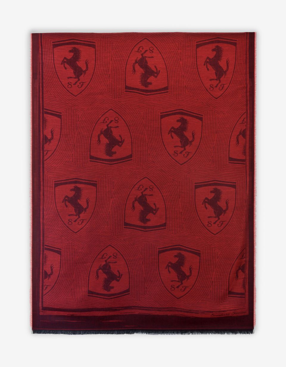 Scuderia Ferrari Online Store - Rectangular Scarf with Ferrari Shield - Scarves