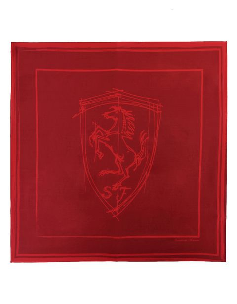 Women's silk foulard scarf with Ferrari sketch logo