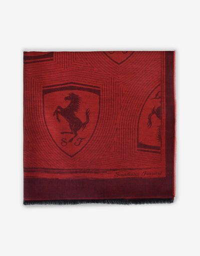 Square jacquard scarf with Ferrari Shield