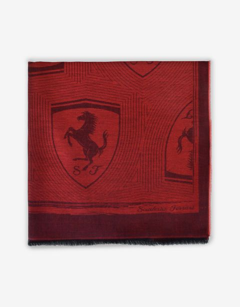 Square scarf with Ferrari Shield