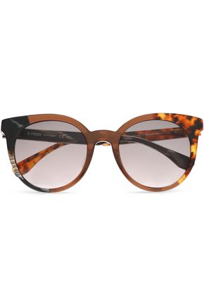 FENDI Cat-eye printed acetate sunglasses