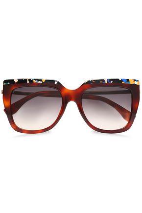 9280805aa4e58 FENDI Square-frame printed acetate sunglasses ...