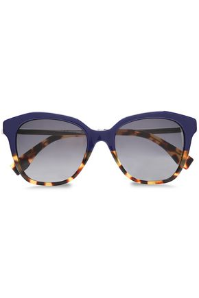 Square Frame Acetate And Silver Tone Sunglasses by Fendi