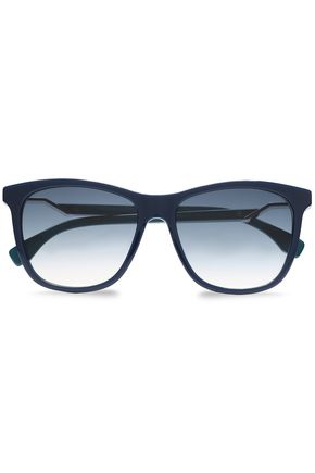 FENDI D-frame acetate and silver-tone sunglasses