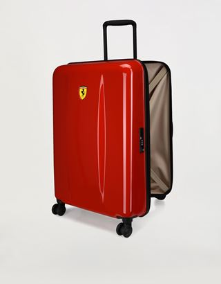 Scuderia Ferrari Online Store - Medium hard shell wheeled suitcase with Ferrari Shield - Trolleys & Luggage